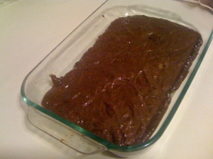 1st layer of brownie cake.