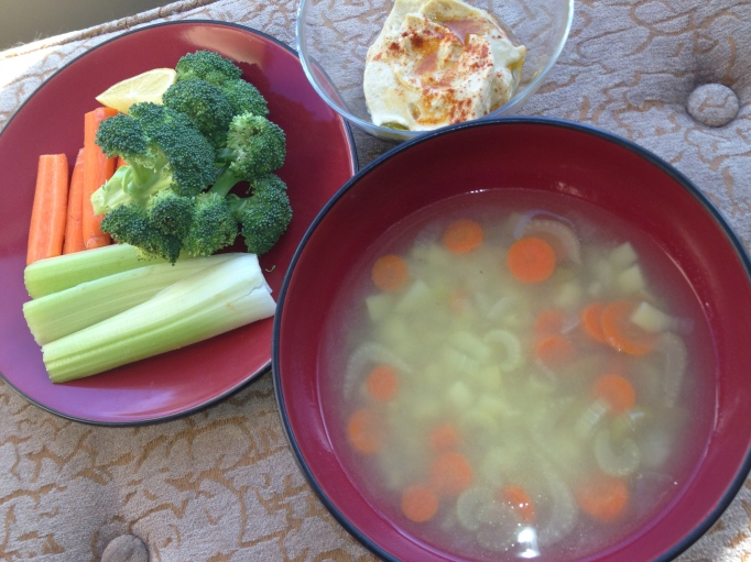 vegan vegetable soup, hummus