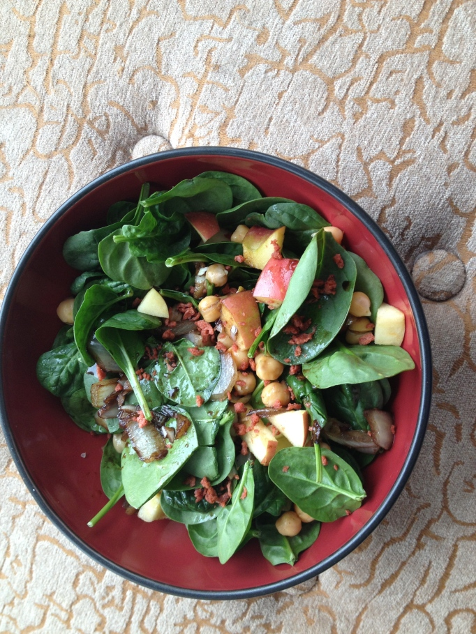 spinach chickpea baco salad