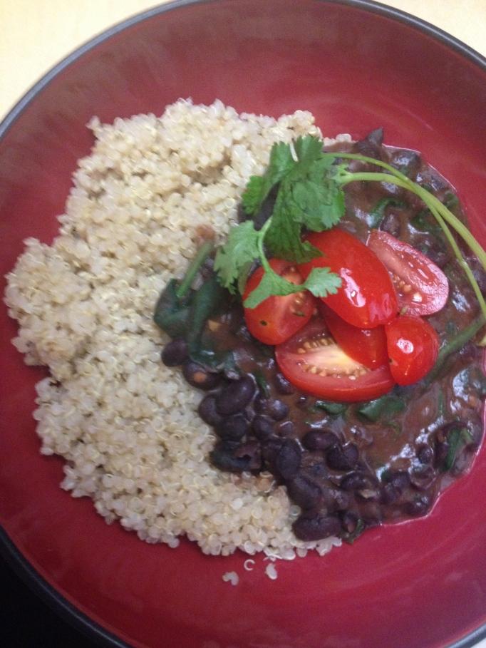 black bean stew and quinoa