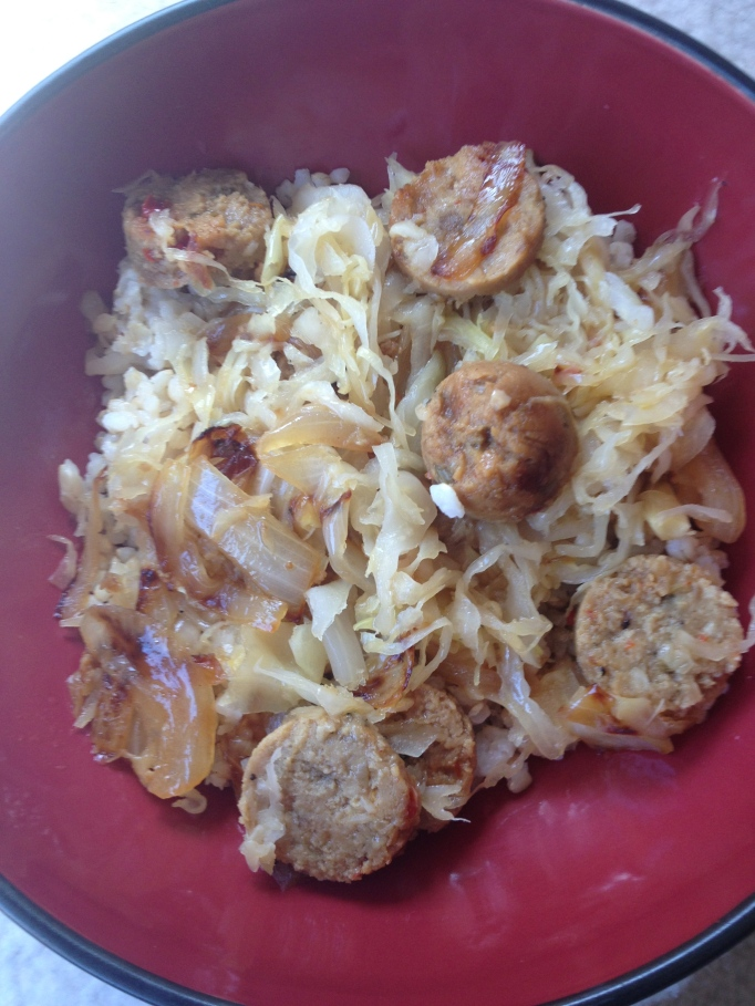 sauerkraut sausage and caramelized onions