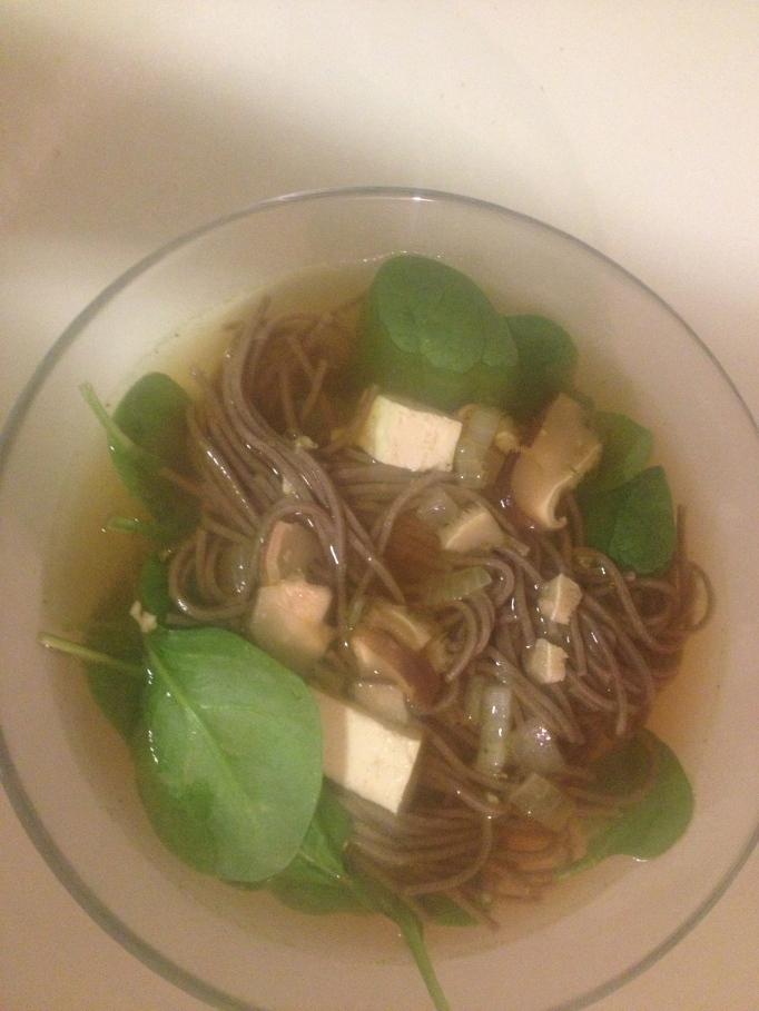 soba noodle and tofu soup