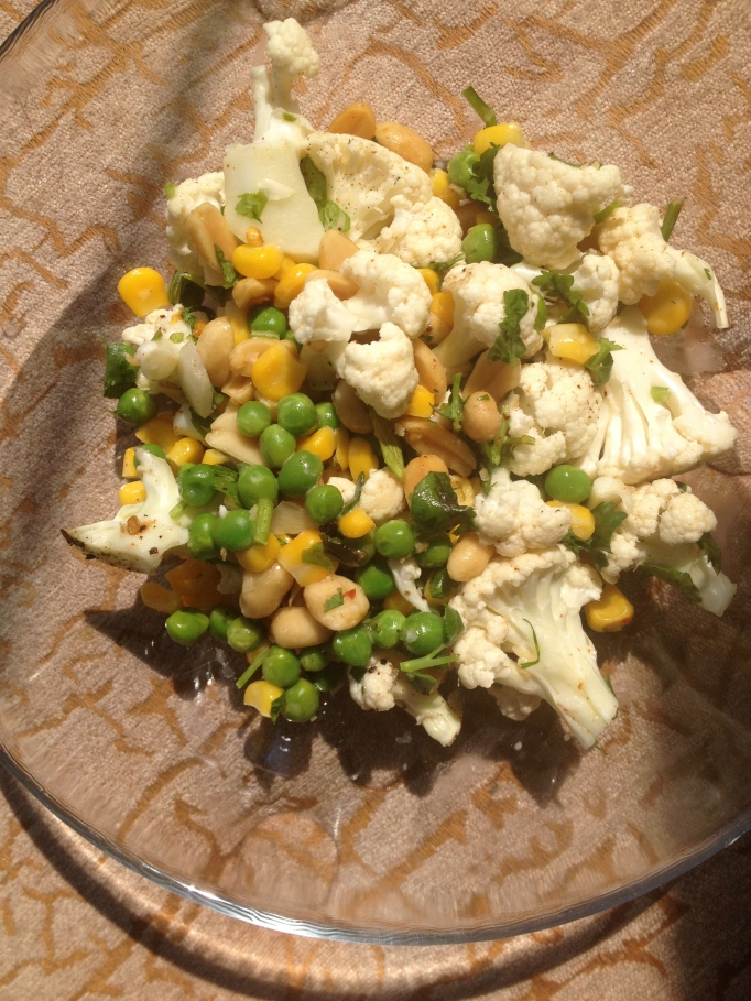 cauliflower, peas, and corn salad
