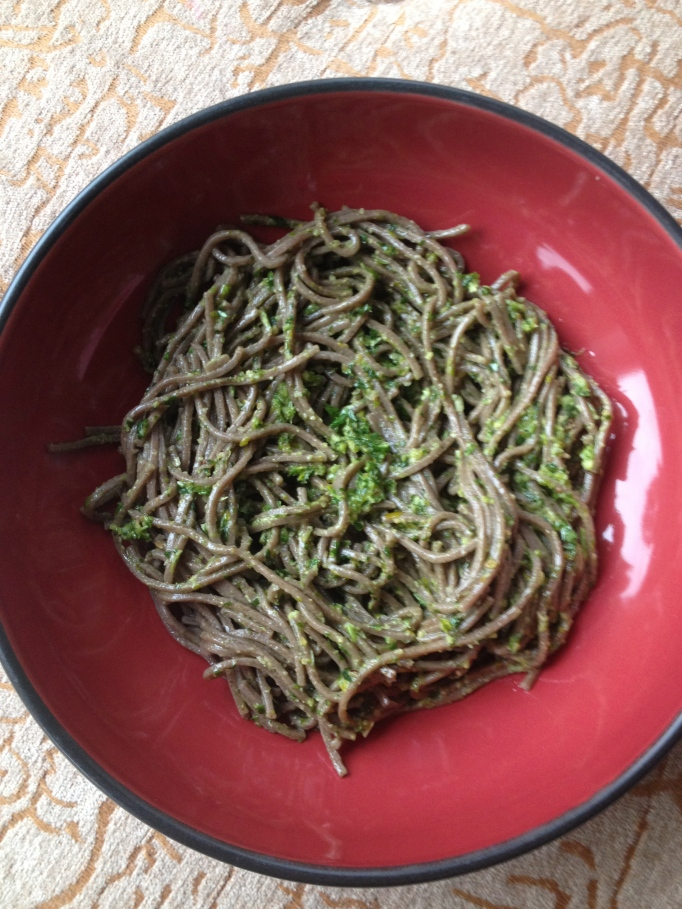 arugula-cilantro pesto and soba noodles