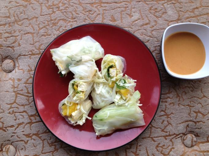 mango spring rolls and peanut sauce