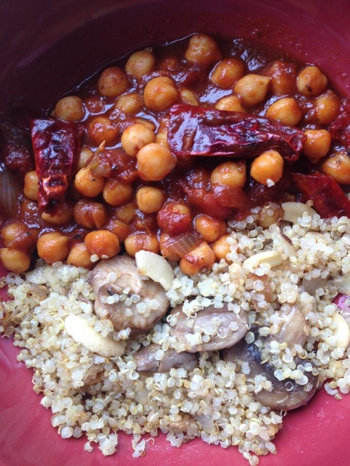barbecue chickpeas and mushroom quinoa