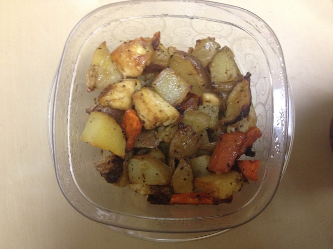 herbed potatoes, carrots, and tofu