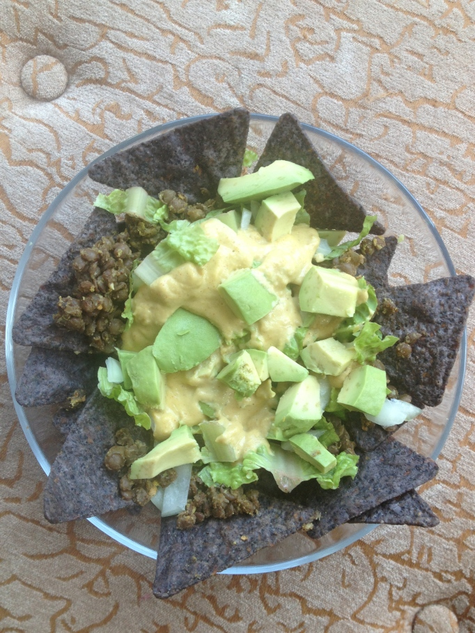 vegan nachos with cashew cheez and lentils