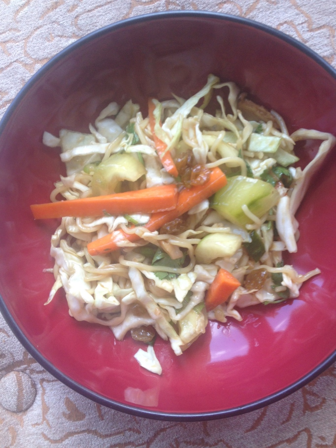 korean vegan cabbage noodle salad