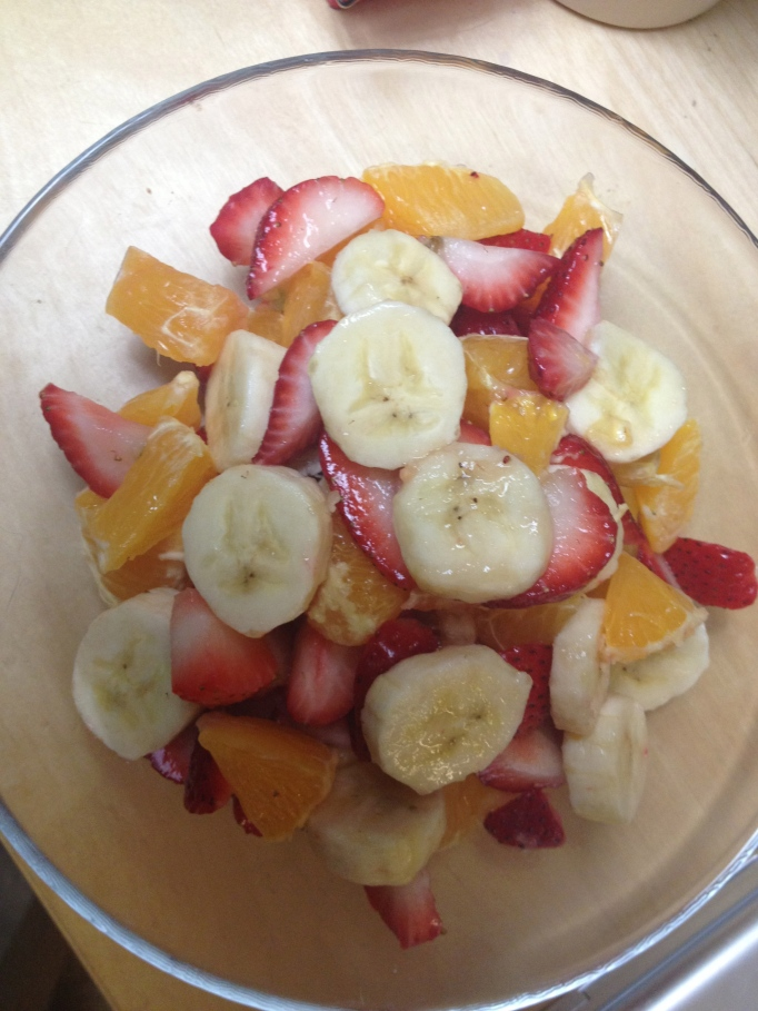 bananas, strawberries, and oranges