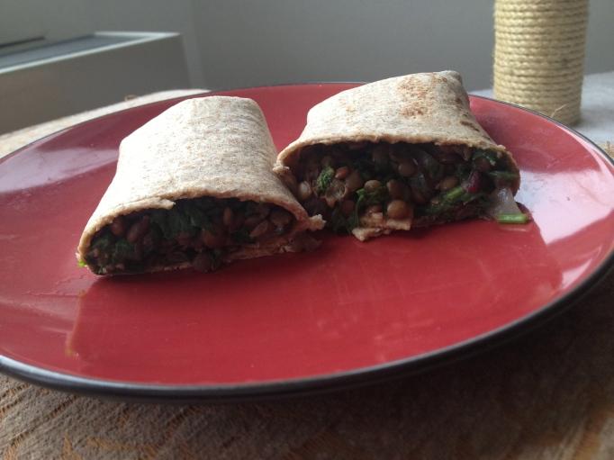 vegan lentil and greens burritos