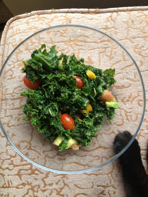sweet grapefruit mango avocado kale salad