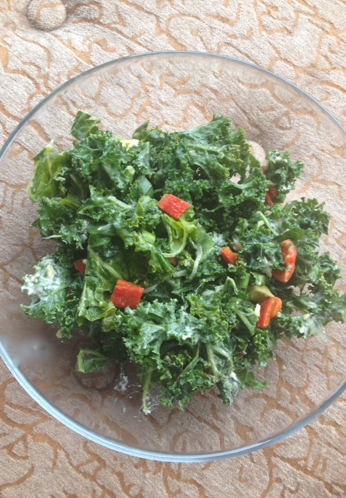creamy kale mint salad with avocado