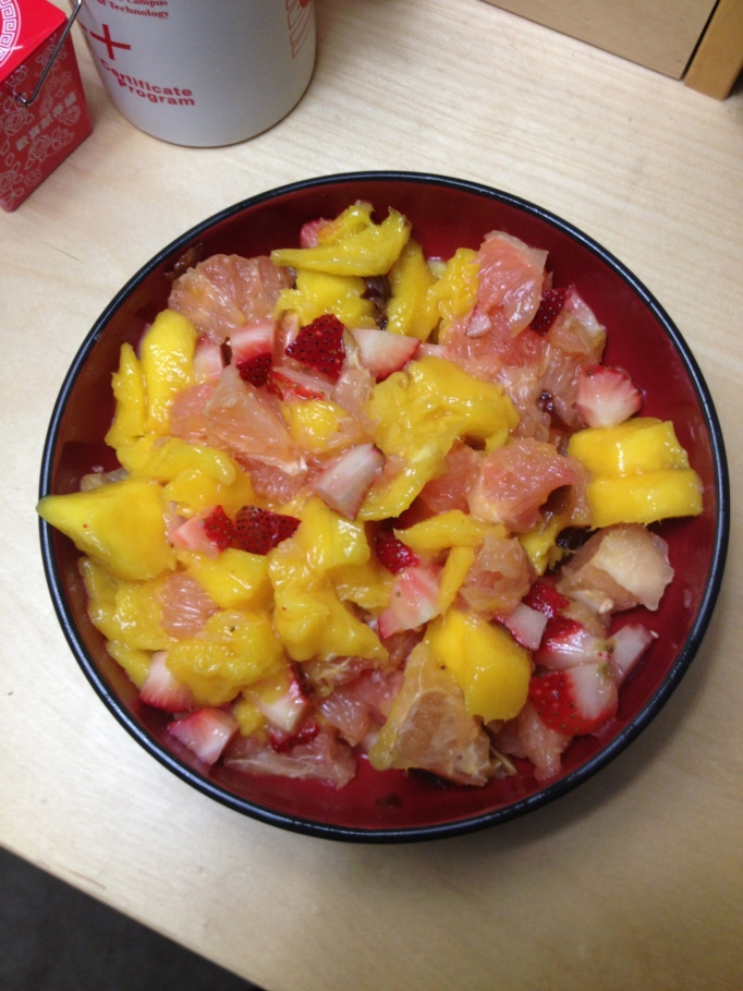 grapefruit, mango, and strawberries