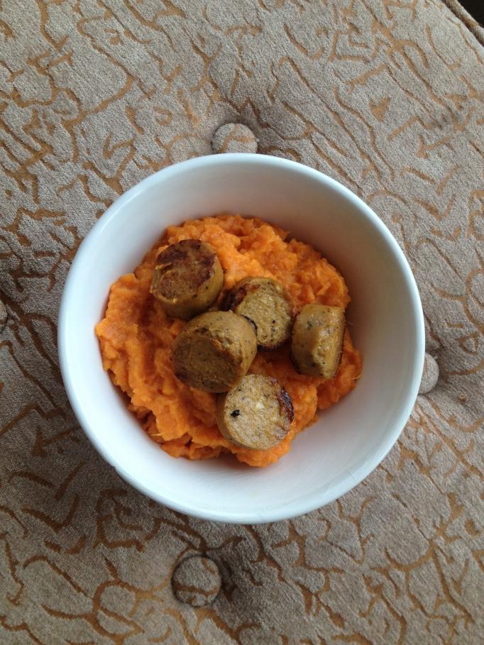 vegan orange sweet potatoes and sausage