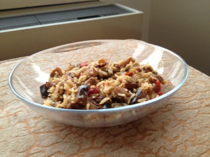 vegan dirty rice with eggplant, walnuts, and jalapeños