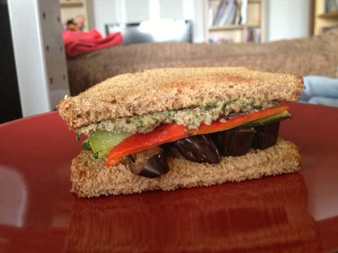 pesto, eggplant, zucchini, and grilled peppers sandwich