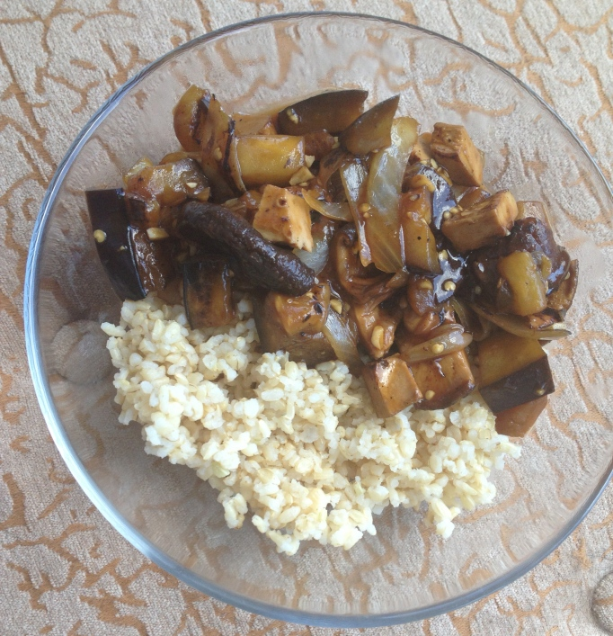 vegan smoky eggplant shiitake stirfry