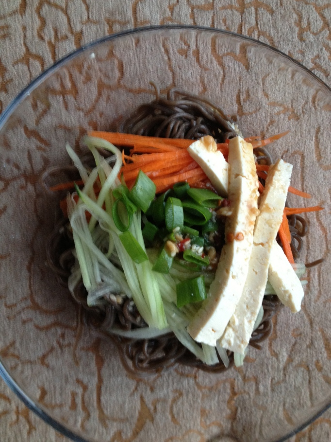 vegan bibim guksu korean cold noodles