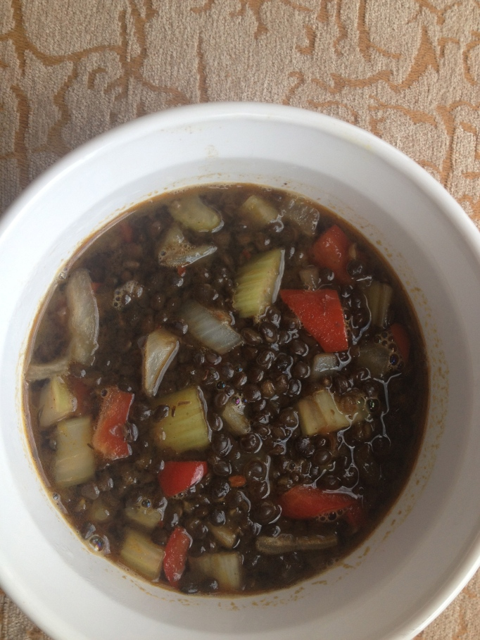 vegan jerk black lentil soup