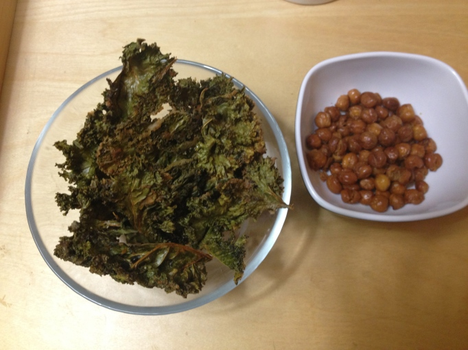 vegan snacks kale chips and roasted chickpeas