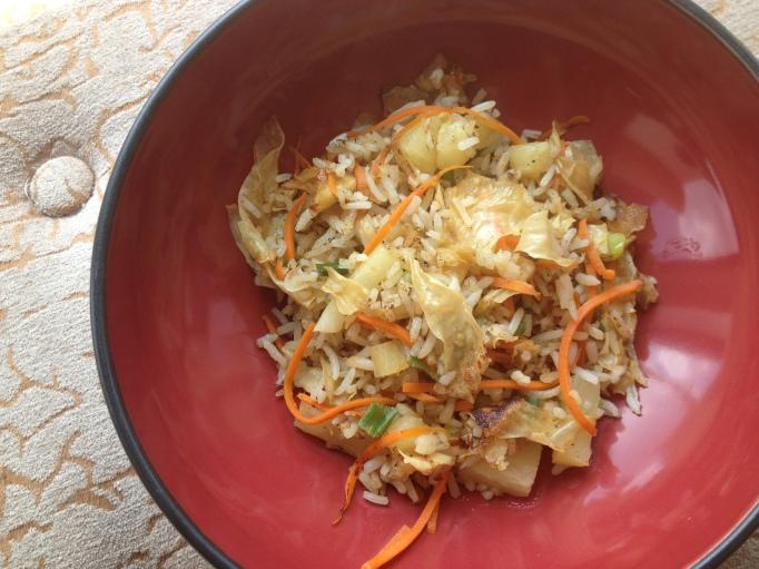 vegan pineapple yuba fried rice