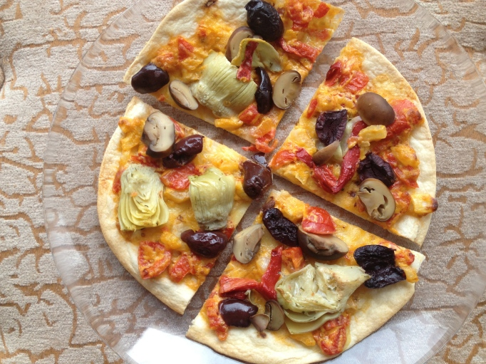 vegan crunchy tortilla pizzas