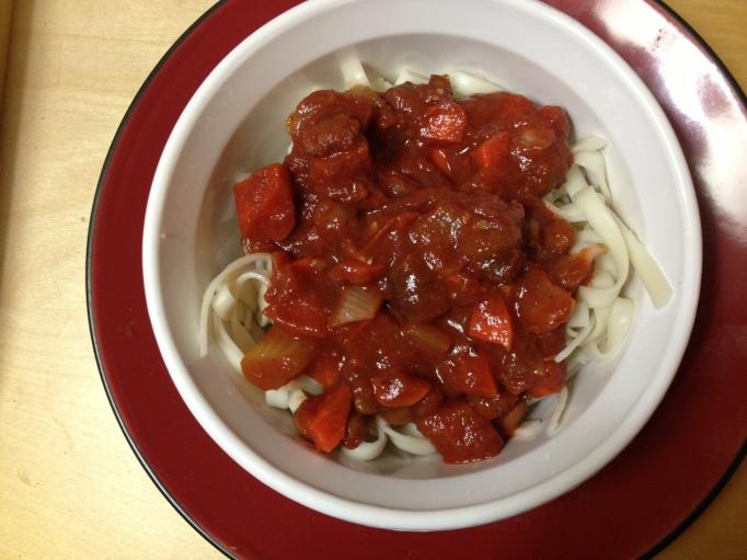 vegan pinto bean tomato sauce linguine