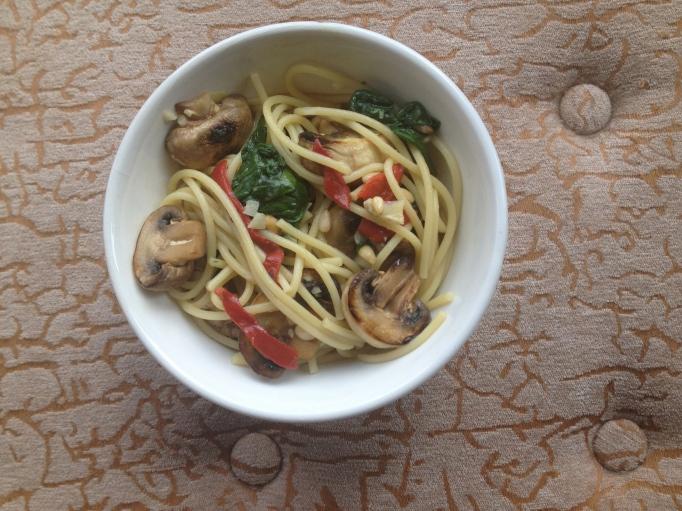 vegan pine nut mushroom pasta