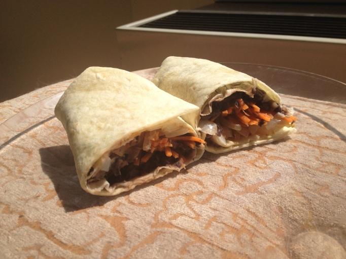 vegan carrot and black bean burrito