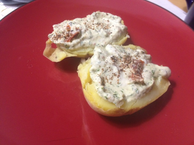 vegan basil cashew cheese baked potato