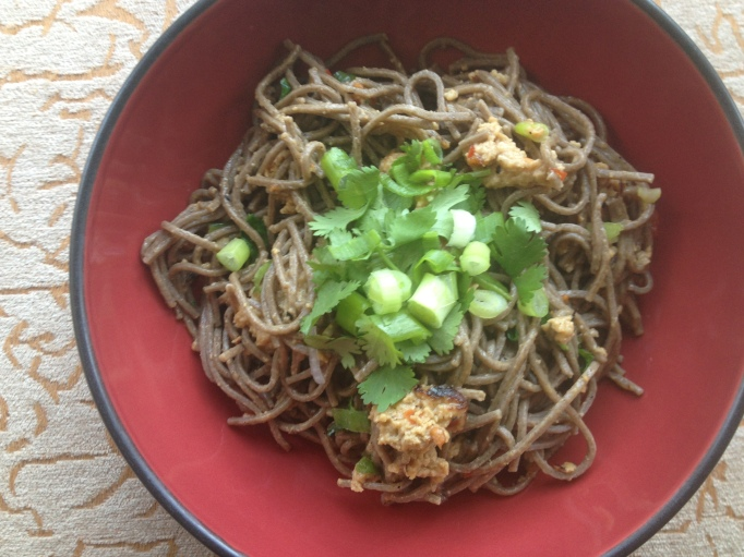 vegan peanut butter and basil udon