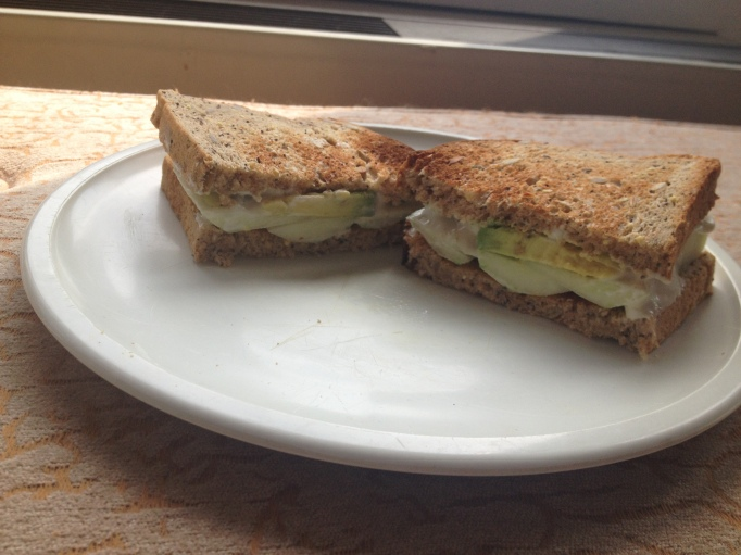 vegan smoky cream cheese and cucumber sandwich
