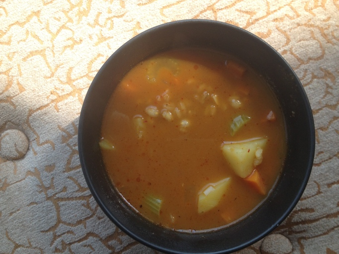 vegan curry barley potato soup