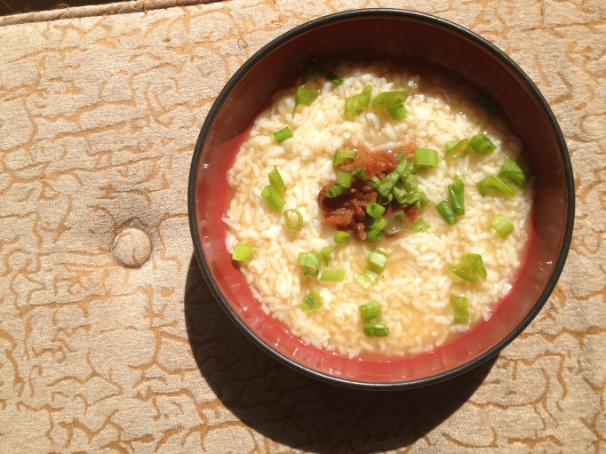 vegan congee with pickled plums