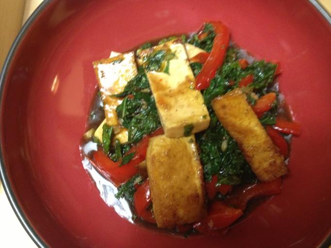 vegan tofu, kale, and bell peppers