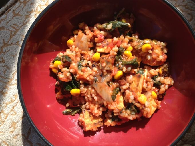 vegan tomato tofu spinach rice