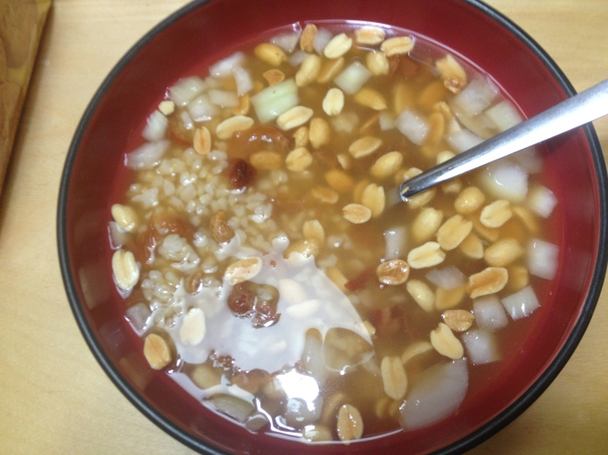 brown rice soup with peanuts