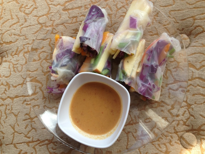 apple red cabbage spring rolls
