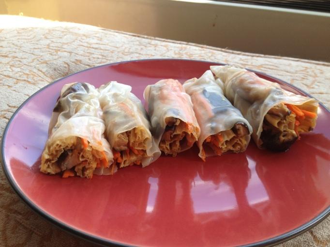 vegan yuba shiitake spring rolls
