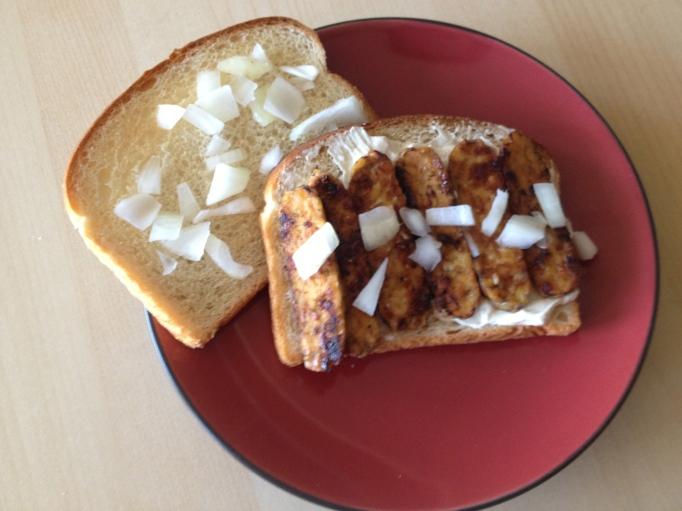 vegan tempeh bacon cream cheese sandwich