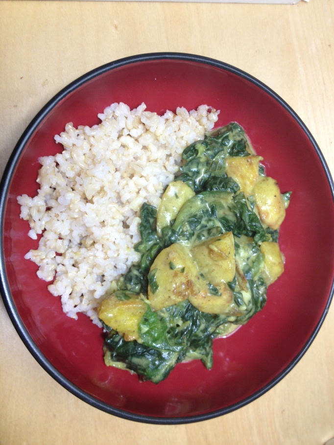 creamy vegan curried spinach and potatoes