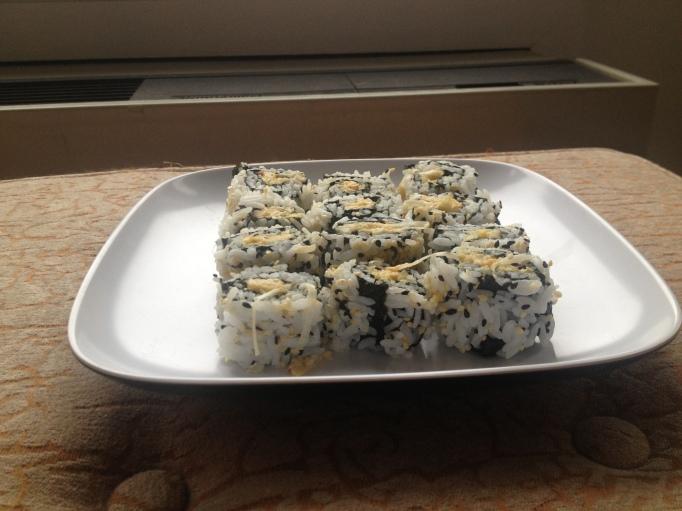 vegan mock crabmeat salad sushi rice roll