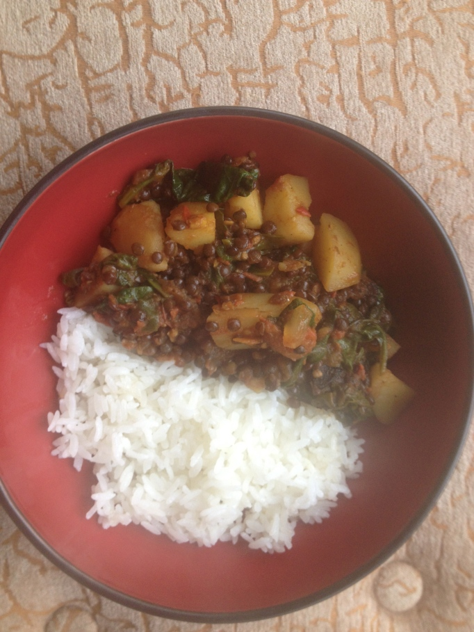 vegan black lentil, potato, spinach stew indian