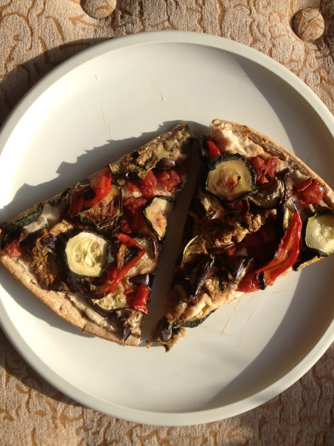 vegan white bean hummus and roasted veggie pizza