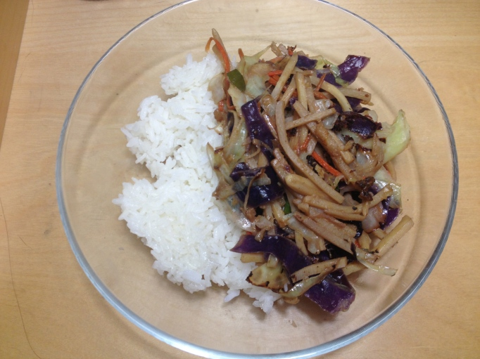 vegan shredded vegetable stir fry and peanut sauce