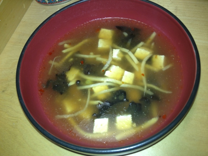 vegan deluxe hot and sour soup with cloud ear mushrooms