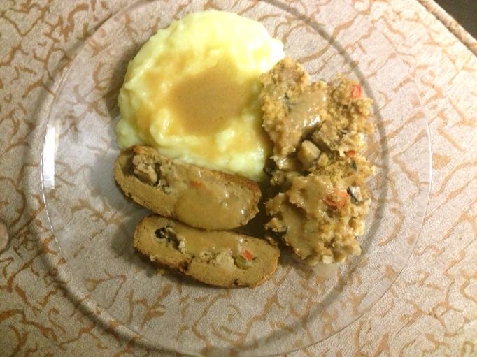 poor woman's tofurky seitan roast with sourdough stuffing