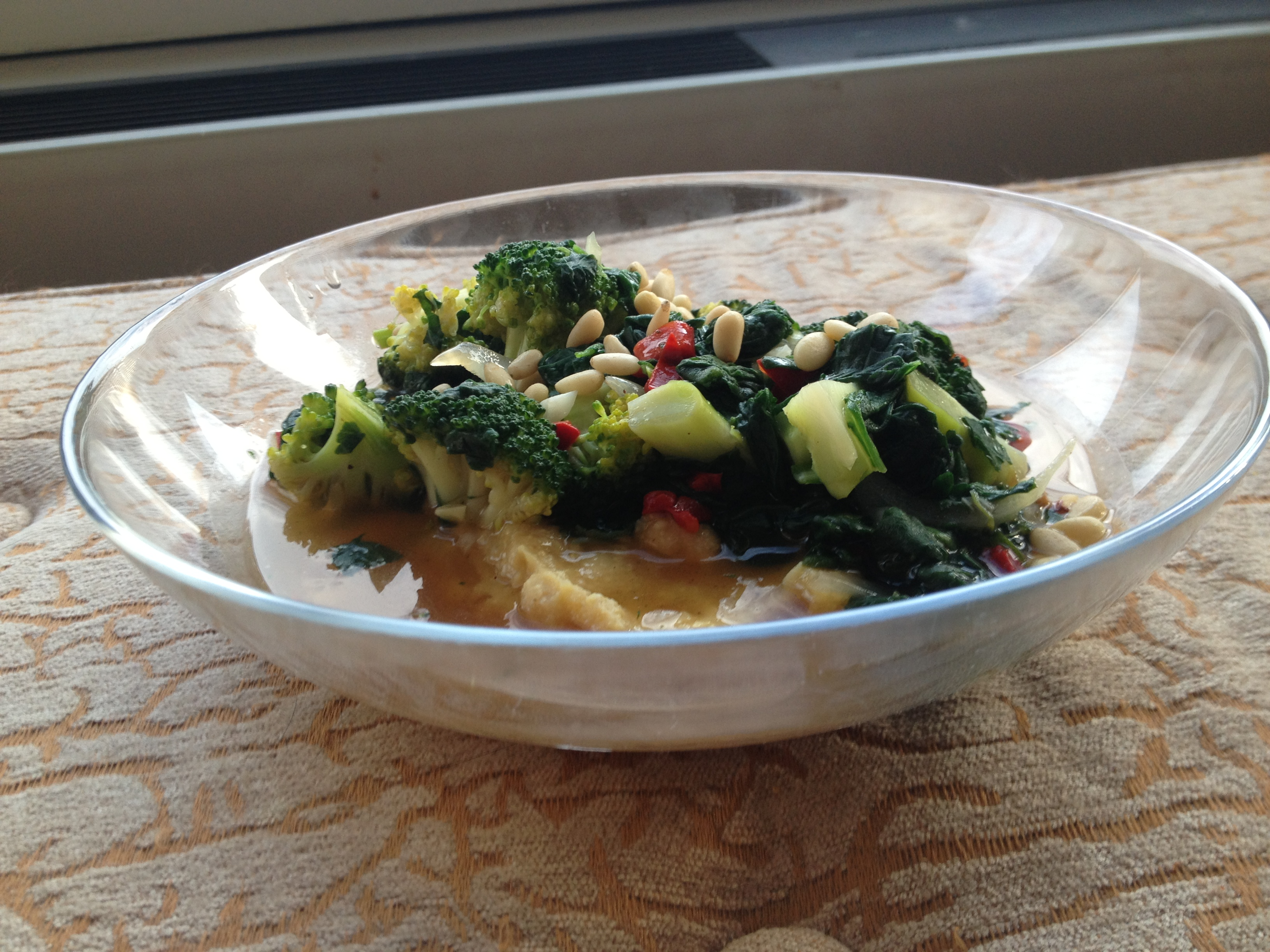 ... Lunch for 6 December, 2013: Polenta with Broccoli and Spinach Mix