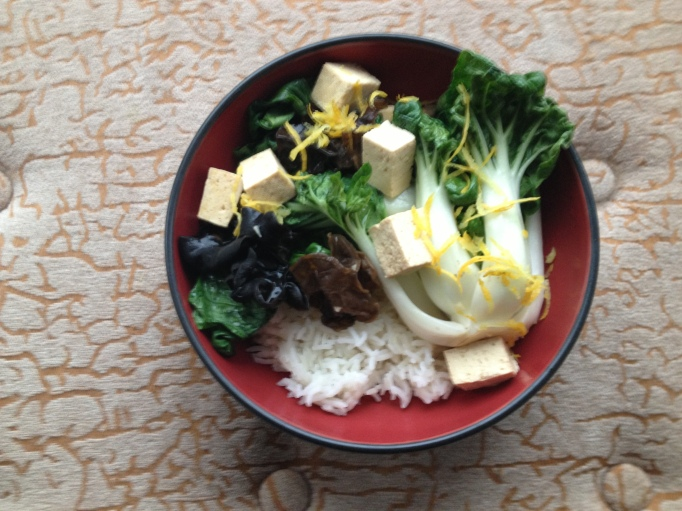 lemon bok choi, mushrooms, and tofu